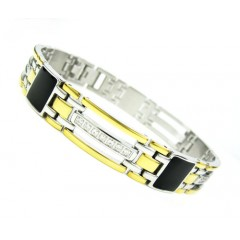 Mens Two Tone Stainless Steel Multi Link Black Onyx Cz Bracelet 0.28ct