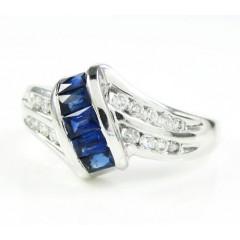 Ladies 14k White Gold Diamond & Blue Sapphire Fashion Ring 0.76ct