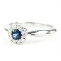 Ladies 18k White Gold Diamond & Blue Sapphire Fashion Ring 0.34ct