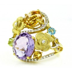 Ladies 18k Yellow Gold Diamond & Multi Color Stone Fashion Ring 4.47ct