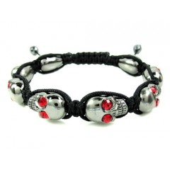 Red Rhinestone Copper Macramé Skull Bead Rope Bracelet 8.00ct