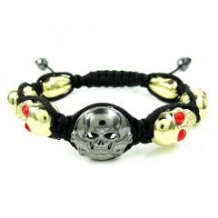 Red Rhinestone Copper Macramé Skull Bead Rope Bracelet 6.00ct