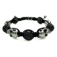 Black Rhinestone Copper Macramé Skull Bead Rope Bracelet 14.00ct