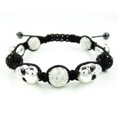 Black & White Rhinestone Copper Macramé Skull Bead Rope Bracelet 14.00ct