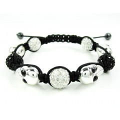 Black & White Rhinestone Copper Macramé Skull Bead Rope Bracelet 14.00ct