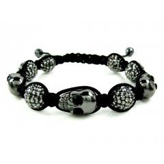 Black Smoke Mirrored Rhinestone Copper Macramé Skull Bead Rope Bracelet 15.00ct