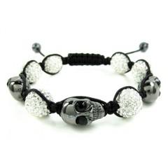 Black & White Rhinestone Copper Macramé Skull Bead Rope Bracelet 15.00ct