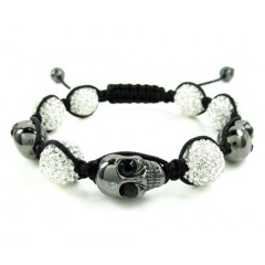 Black & White Rhinestone Copper Macramé Skull Bead Rope Bracelet 15.00ct