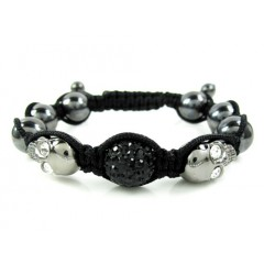 Black & White Rhinestone Copper Macramé Skull Bead Rope Bracelet 4.00ct