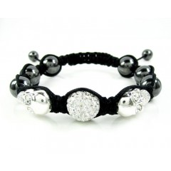 White & Black Rhinestone Copper Macramé Skull Bead Rope Bracelet 4.00ct
