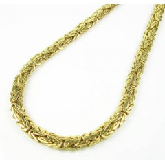10k Yellow Gold Flat Byzantine Chain 18 Inch 6.5mm