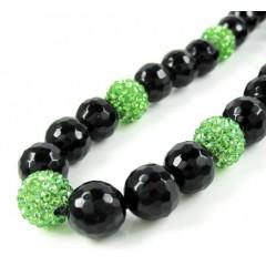 Lime Green Rhinestone Macramé Black Onyx Faceted Bead Chain 17.00ct
