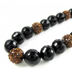Dark Orange Rhinestone Macramé Black Onyx Faceted Bead Chain 17.00ct