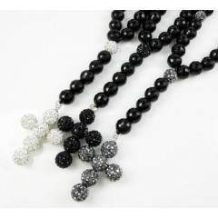 Black Onyx Rhinestone Faceted Bead Rosary Chain 17.00ct