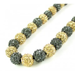 Black & Champagne Rhinestone Macramé Bead Black Rope Chain 50.00ct