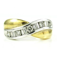 Ladies 14k Two Tone Gold Round & Baguette Diamond Swirl Ring 0.60ct