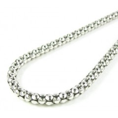 925 white sterling silver popcorn link chain 16-24 inch 4mm