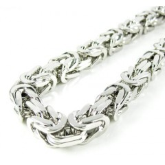 925 White Sterling Silver Byzantine Link Chain 36 Inch 6.5mm