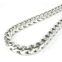 925 White Sterling Silver Franco Link Chain 36 Inch 6.5mm