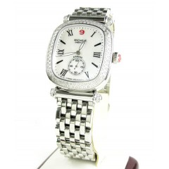Ladies michele caber isle diamond white stainless steel watch 0.58ct