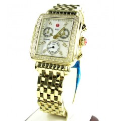 Ladies Michele Deco Day Diamond Yellow Stainless Steel Watch 0.66ct