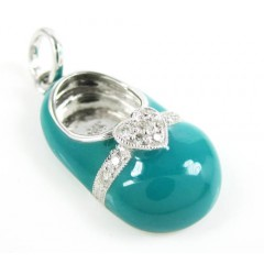 14k White Gold Turquoise Blue Enamel Diamond Heart Baby Shoe Pendant 0.08ct