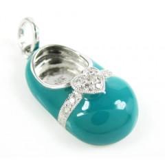 14k White Gold Turquoise Blue Enamel Diamond Heart Baby Shoe Pendant 0.08ct