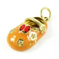 18k Yellow Gold Orange Enamel Diamond Flower Lady Bug Baby Shoe Pendant 0.03ct