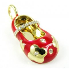 14k Yellow Gold Red Enamel Diamond Flower Baby Shoe Pendant 0.10ct