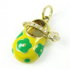 14k Yellow Gold Yellow Enamel Diamond Flower Baby Shoe Pendant 0.09ct