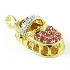 14k Yellow Gold Diamond & Pink Sapphire Baby Shoe Pendant 0.40ct