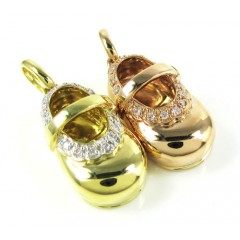 18k Gold Diamond Baby Shoe Pendant 0.08ct
