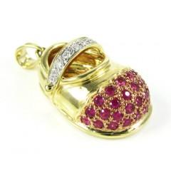 14k Yellow Gold Diamond & Purple Sapphire Baby Shoe Pendant 0.51ct