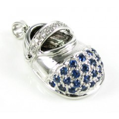 14k White Gold Diamond & Blue Sapphire Baby Shoe Pendant 0.51ct