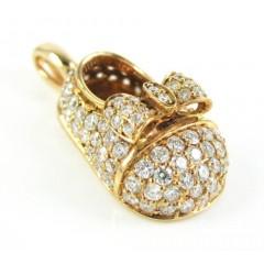 18k Rose Gold Diamond Baby Shoe Pendant 0.92ct