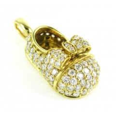 18k Yellow Gold Diamond Baby Shoe Pendant 0.92ct