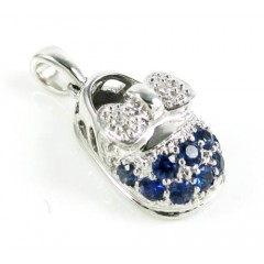 18k White Gold Diamond & Blue Sapphire Baby Shoe Pendant 0.51ct