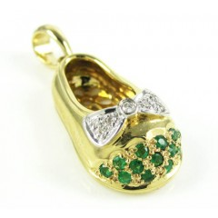 14k Yellow Gold Diamond & Green Emerald Baby Shoe Pendant 0.17ct