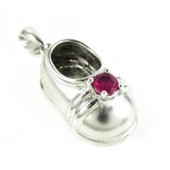 14k White Gold Purple Ruby Baby Shoe Pendant 0.20ct