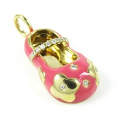 14k yellow gold pink enamel diamond flower baby shoe pendant 0.10ct