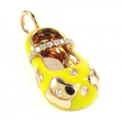 14k Rose Gold Yellow Enamel Diamond Flower Baby Shoe Pendant 0.10ct