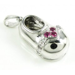 14k White Gold Diamond & Purple Ruby Heart Baby Shoe Pendant 0.09ct
