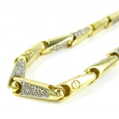 Mens 14k Yellow Gold Bullet Link Diamond Bracelet 1.20ct