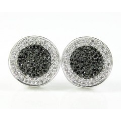 14k Solid White Gold White & Black Diamond Pave Earrings 0.50ct