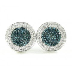 14k Solid White Gold White & Blue Diamond Pave Earrings 0.50ct