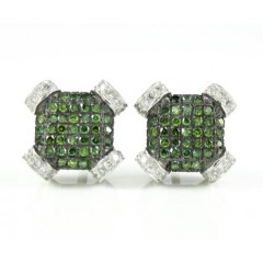 10k Solid White Gold Green Diamond Pave Earrings 0.35ct