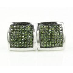 10k Solid White Gold Green Diamond Pave Earrings 0.25ct