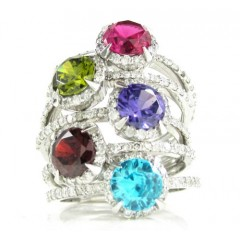 Ladies 14k White Gold Diamond And Sapphire Fashion Ring 0.33ct