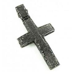 925 Sterling Silver Black Diamond Cross 1.25ct