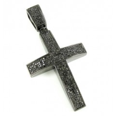 925 Sterling Silver Black Diamond Cross 1.75ct